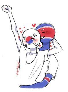 Korea Country, Country Art, South Korea North Korea, Mundo Comic, Human Art, Fandom, Fujoshi, Hetalia, Cute Drawings