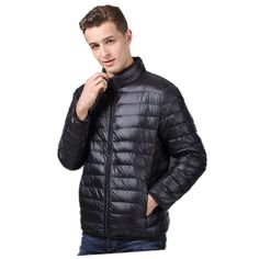 NXH Mens Down Jacket Winter Coat Premium Coldproof Nylon Black ...