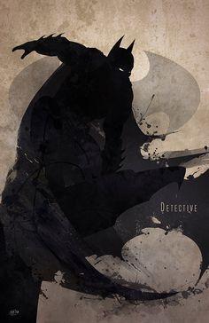Batman Original Giclee Art Print 'Detective' by DigitalTheory on Etsy