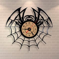 Spider decor vinyl record wall clock design