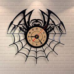 Spider decor vinyl record wall clock design