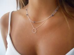 Sterling Silver Gemstone and Ring Necklace Set by annikabella