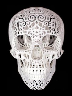"Crania"" 3D Sculpture by Josh Harker - Material is 3d printed polyamide which is essentially a nylon & glass powder fused together with a laser"