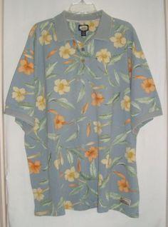 TOMMY-BAHAMA-Hawaiian-Floral-Mens-Short-Sleeve-Aloha-Polo-Shirt-Size-XXL