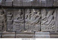Yogyakarta, Java, Indonesia.  Prambanan Temples.  Rama Celebrating with Twin Sons.  Wall Carving. - Stock Image