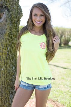 Your true colors are sure to show in this bright monogram tank top! It's perfect year round and even better to take to the beach!
