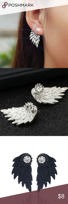 ✨Angel Wing Rhinestone Alloy Earings ✨ Available SOON !!!! Gothic  rhinestone earings these are Super cute I will have all 3 colors available 🎀 Jewelry Earrings