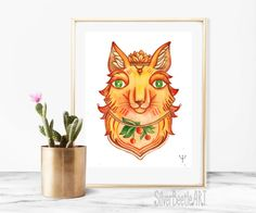 Nursery Animal Print Fox Art Nursery Fantasy Animal Print Fantasy Fairy Tale Art Animal Nursery Print Fox Printable  My prints are a high quality image on a thick, beautiful, textured paper (the base weight of the paper is 250 - 300g). The drawings are br