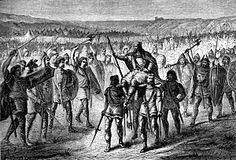 Sigebert hissé sur le parvois - SIGEBERT 1°, 14 SIGEBERT conquiert alors la vallée de la Seine dont Rouen, tandis que son frère se réfugie à Tournai en 575. Il retourne à Paris pour rejoindre la reine Brunehaut et ses enfants. Les Francs du royaume de Paris envoient une délégation pour lui rendre hommage et destituent CHILPERIC.