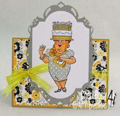Art Impressions: Ai People:  Birthday Hat set (#4373)  handmade easel card.