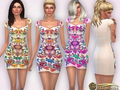 The Sims Resource: Embellished Embroidered Mini Dress by Harmonia • Sims 4 Downloads