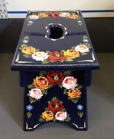 Traditional Blue hand painted wooden narrow boat stool roses and castles Hand Painted Chairs, Painted Furniture, Canal Boat Art, Norwegian Rosemaling, Folk Art Flowers, Scandinavian Folk Art, Boat Painting, Narrowboat, Wooden Stools