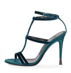 Tom Ford - FW 2016 - Velvet Cage 105mm Sandal, Pacific Blue - silk-blend velvet sandals with double toe straps caged in T-strap with adjustable ankle-wrap strap.