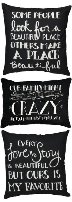 Black & White Quote Throw Pillows // Pillow Talk ♥