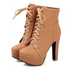 Comfortable High Heel Platform Multi Color Lace-Up Ankle High Boots