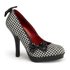 Pinup Couture Women's 'Secret-12' Patterned Clip-on Bow Pumps
