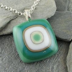 Shades of Green White and Ivory Glass Pendant. by LindsaysDesigns