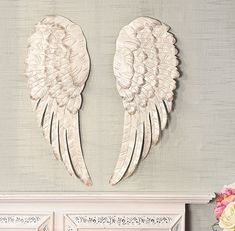 """Metal Angel Wings Home Decor Hanging Wall Sculpture 24"""" Distressed White Ivory"""