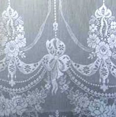 Detail of our Nottingham lace curtain panel called Skye.