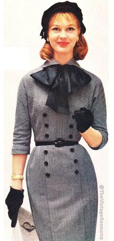 Bobbie Brooks 1957 vintage fashion style herringbone wool dress black white buttons belt bow color photo print ad 50s