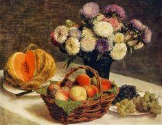 Henri Fantin-Latour Flowers and Fruit, a Melon