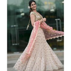 Beautiful baby pink gold and powder pink bridal Reception Sangeet Engagement Lehenga Choli Indian Wedding wear Lehenga Indien, Half Saree Lehenga, Lehnga Dress, Indian Lehenga, Indian Gowns, Net Lehenga, Indian Wedding Wear, Indian Party Wear, Indian Bridal