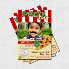 Personalized PIZZA PARTY Mustache Birthday Invitations