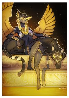 Bastet, the egyptian goddess, Luis Montes Bastet Goddess, Goddess Art, Egyptian Goddess, Egyptian Art, Egyptian Mythology, Art Anime, Anime Kunst, Fantasy Creatures, Mythical Creatures