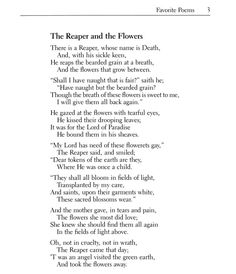 Longfellow Poem, The Reaper and the Flowers