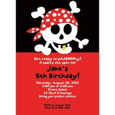Check out Pirate Birthday Personalized Invitation - Custom Invitations & Party Supplies from Birthday In A Box