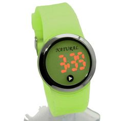 DW418G PNP Shiny Silver cassa dell'orologio LED del silicone verde Banda Boy Girl Orologio Digitale