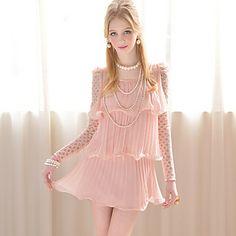 Pink Doll Three Layer Ruffle Long Sleeve Mini Dresses
