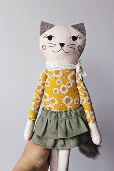 Cats Toys Ideas - CAT RAG DOLL Handmade Children Gift Cat Plush by filomeluna - Ideal toys for small cats Stuffed Animals, Stuffed Animal Cat, Ideal Toys, Fabric Toys, Cat Doll, Sewing Dolls, Cat Crafts, Childrens Gifts, Soft Dolls