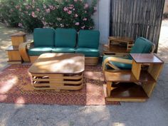 VINTAGE TABLE AND CHAIRS | Vintage Rattan Tiki Living Room Couch Table Chair in Central ...