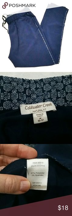 Coldwater Creek Drawstring Soft Pants Comfy lightweight  pants that can go anywhere! Aztec print on the waist and side seams. Coldwater Creek Pants