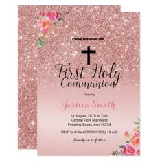 First communion invitation first holy communion invitation rose gold first communion invitation glitter glamour brilliance sparkle design idea diy elegant solutioingenieria Choice Image