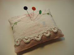 Handmade Sachet Pin Cushion  Vintage Pink by backgatecottage, $25.00