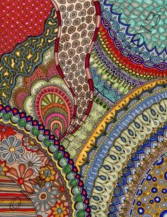 Busy pattern zentangle style Meredith Bub :: Coloration reminiscent of fabric colorways; wonder why? Zentangle Drawings, Doodles Zentangles, Doodle Drawings, Doodle Art, Zen Doodle, Zantangle Art, Zen Art, Doodle Patterns, Zentangle Patterns
