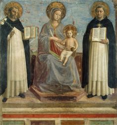 Fra Angelico Virgin and Child with Saints Dominic and Thomas Aquinas, , The Hermitage, St. Read more about the symbolism and interpretation of Virgin and Child with Saints Dominic and Thomas Aquinas by Fra Angelico. Fra Angelico, Saint Dominic, Madonna Und Kind, Madonna And Child, Catholic Art, Religious Art, Religious Icons, Catholic Saints, Renaissance Art