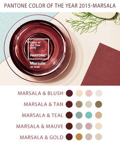 Pantone Color of the Year: Marsala - color pairing inspiration for your 2015 Wedding #soireefloral #pantone2015