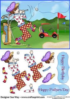 Wacky Male Golfer Card Front and Decoupage