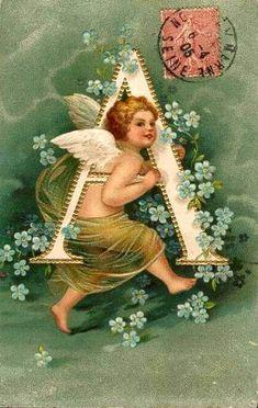 """A"" ~ Vintage Angel Alphabet Postcard, ca. 1900s"