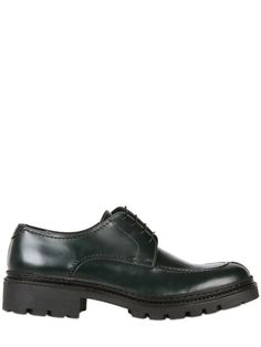 $173, Matt Leather Derby. Sold by LUISAVIAROMA. Click for more info: https://lookastic.com/men/shop_items/82353/redirect
