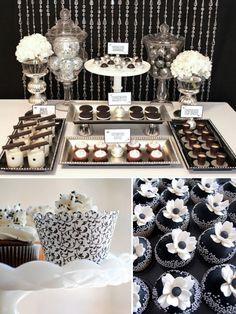 De jolis sweet tables - Buffets de desserts - Candy Bars - The Wedding Tea Room my-brides-to-be Black And White Wedding Cake, White Wedding Cakes, Wedding Desserts, Buffet Dessert, Dessert Bars, Dessert Tables, Candy Table, Candy Buffet, White Candy Bars