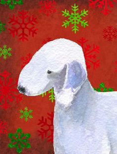 Bedlington Terrier Red Snowflakes Holiday Christmas Flag Canvas House Size