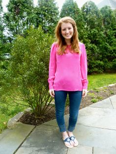 J.Crew blouse and monogrammed Jack Rogers (giveaway on the blog!).
