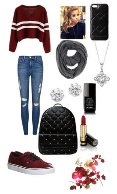 """Burgundy Winter"" by bstover1999 ❤ liked on Polyvore featuring Frame Denim, Vans, Blue Nile, Paula Bianco, Marc by Marc Jacobs, Kenneth Jay Lane, Chanel and Gucci"