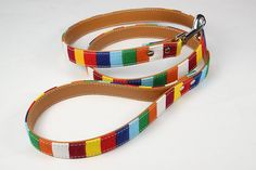 HENREK Canvas PU Leather Dog Leash Rainbow Striped Training Leash, 4 Feet * Remarkable product available now. : Cat Collar, Harness and Leash