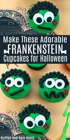 Make these adorable Frankenstein cupcakes for a non-scary Halloween treat. via treats frankenstein Scary Halloween Treats, Halloween Cupcakes Easy, Easy Halloween Food, Halloween Crafts For Kids, Halloween Desserts, Halloween Cakes, Cute Halloween, Holidays Halloween, Halloween Themes
