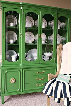 Green China Cabinet makeover by Jennifer of Dimples and Tangles Furniture Projects, Furniture Makeover, Diy Furniture, Accent Furniture, Diy Projects, Cottage Furniture, Antique Furniture, Furniture Design, Antique China Cabinets